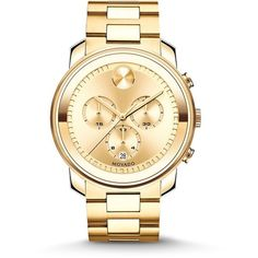 Movado Bold Goldtone IP Stainless Steel Chronograph Bracelet Watch ($1,070) ❤ liked on Polyvore featuring men's fashion, men's jewelry, men's watches, apparel & accessories and gold