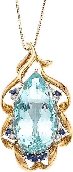 Estate Jewelry:Necklaces, Aquamarine, Diamond, Sapphire, Gold, Pendant-Necklace Image #1