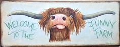 Highland Cow Shabby Chic Wooden Sign Plaque Print Picture Art