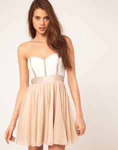 ASOS skater dress with lace bustier $85 #fashion #clothes #outfit #dress #mini #prom #party #blush #white #pink #nude #corset #cute #romantic #modern #asos #lace #style #stylish #chic
