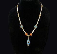 Aqua, Orange and Gold lampwork bead necklace by Dinglefritz, $45.00 USD
