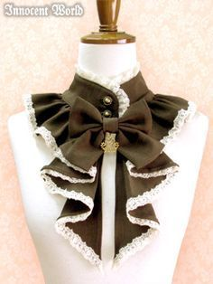 Claudette Detachable Collar by Innocent World- Very Classic Lolita or maybe even Hime Lolita; Chocolate, Beige and Black options.: