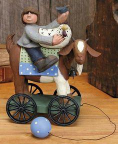 Boy on Goat Pull Toy – Everyday Folk Art Figurines & Collectibles – Williraye Studio $20.00