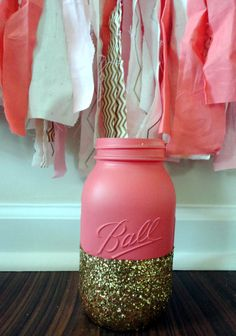 Coral and Gold Glitter Mason Jar-Quart Sized-Glitter,Wedding Centerpiece,Glitter Mason Jar, Event Decor, Wedding Decor, Navy and Coral by RomanticSouthern on Etsy