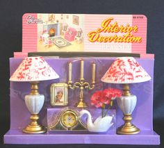 2 GLORIA BARBIE FURNITURE DOLLHOUSE Interior Decoration W/ LAMPS VASE  PLAYSETS