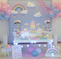 """Aluguel - Decoração Chuva de Amor/Benção Com Arco Iris Para proporcionar ao Cliente uma excelente experiência de compra, será necessário antes de clicar no botão - Comprar este Produto e Efetuar o Pedido, clicar primeiro em """" CONTATAR O VENDEDOR """", com isto esclarecer todas as dúvidas, e ver a... Rainbow Birthday Party, Unicorn Birthday Parties, Baby Birthday, First Birthday Parties, Birthday Party Themes, First Birthdays, Baby Shower Decorations, Birthday Decorations, Cloud Party"""