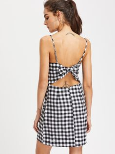 Gingham Bow Tie Back Cami Dress -SheIn(Sheinside)