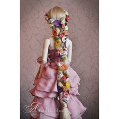 Rapunzel ❤ liked on Polyvore featuring costumes, disney, hair, cosplay, wig costumes, doll halloween costume, babydoll costume, baby doll costume and doll costume
