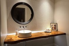 Contemporary Powder Room With Live Edge Wood Vanity Top Picture Wooden Vanity, Wooden Bathroom, Beautiful Small Bathrooms, Amazing Bathrooms, Modern Bathrooms, Modern Powder Rooms, Modern Room, Penny Floor Designs, Powder Room Vanity