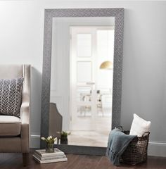 Silver Woven Framed Mirror, 38x68 in.  - $99.99