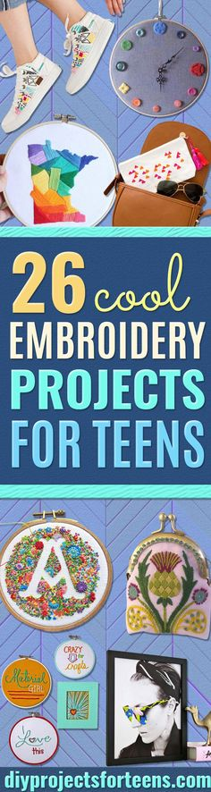 Cool Embroidery Projects for Teens - Step by Step Embroidery Tutorials - Awesome Embroidery Projects for Teenagers - Cool Embroidery Crafts for Girls - Creative Embroidery Designs - Best Embroidery Wall Art, Room Decor - Great Embroidery Gifts, Free Embroidery Patterns for Girls, Women and Tweens  via @diyprojectteens Diy Embroidery Projects, Creative Embroidery, Embroidery Patterns Free, Embroidery Designs, Diy Projects Videos, Easy Craft Projects, Diy Projects For Teens, Easy Crafts, Teen Crafts