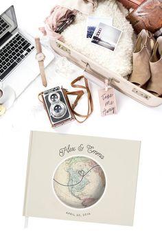 Custom World Map Wedding Guest Book by MissDesignBerryInc