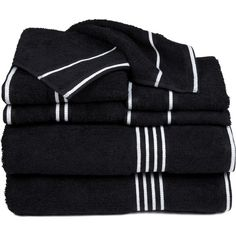 Rio 8 Piece Egyptian Cotton Towel Set Color: Black ($60) ❤ liked on Polyvore featuring home, bed & bath, bath, bath towels, black towel set, egyptian cotton towel set, egyptian cotton bath towels, plush bath towels and striped bath towels
