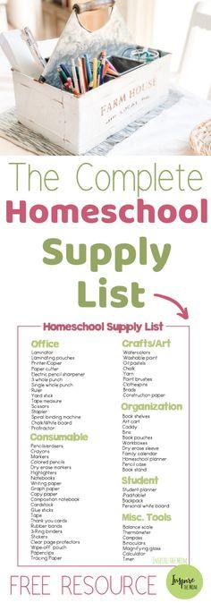 The Complete List of Homeschool Supplies