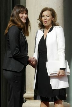 French women seriously know how to dress themselves.     Hollande's partner Valerie Trierweiler, right, shakes hands with Sarkozy's wife Carla Bruni-Sarkozy before the presidential handover ceremony.