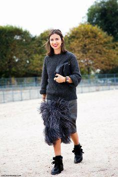 Natasha Goldenberg in Dries Van Noten and Saint Laurent boots