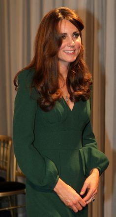 Kate Middleton, Duchess of Cambridge, in green Alexander McQueen