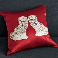 The Terrier and Lobster: Desired: West Elm Porcelain Staffordshire Dog Figurine Silk Pillow Cover
