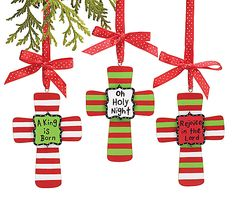 """Hand painted wooden ornament with messages: Rejoice in the Lord, Oh Holy Night, and a King is Born.5 1/2""""H X 4 1/2""""W.4 Assortments of 3. Total of 12."""