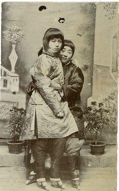 Chinese Girls Vintage print, China Tirage citrate 6,5x10,5 - 1890