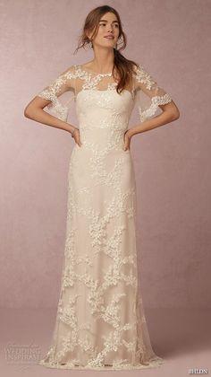 bhldn spring 2016 flutter sleeves illusion jewel semi sweetheart neckline fully embellished sheath column lace wedding dress cowl back marchesa (estella) mv  -- BHLDN Spring 2016 Collection