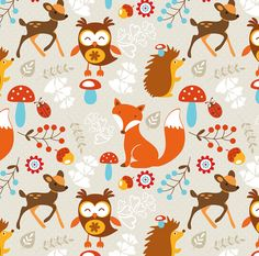 Woodland Fox Fabric  Woodland Creatures By Rocky by Spoonflower