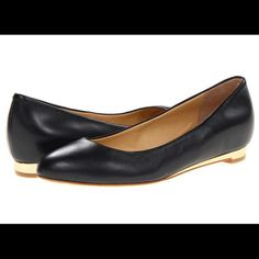 """NIB! Cole Haan Astoria Black Leather Ballet Flats This Cole Haan ballerina flat, butter soft leather makes for easy slip on and comfort!  A true classic! Leather upper. Round toe. Metallic leather footbed and midsole. 1/4"""" flat heel that has that added pop of gold!  Super comfortable. Comes with original box in perfect condition. Cross posted! Cole Haan Shoes Flats & Loafers"""
