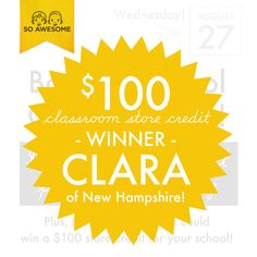 Congratulations Clara! You've won the $100 Back to School store credit for a classroom of your choice! I'll be contacting you soon with the web-store code   #winner #giveaway #backtoschool