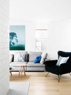 Grey Sofa + Pop of Cobalt Blue | modern living room | fiona lynch design