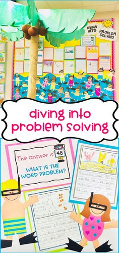 "These mini snorkel kids make for a fun and summery craft! Templates & writing stationary available for students to write beach-themed math word problems or stories to go with the craft. If you pair the craft with beach word problems, they look great on a bulletin board with a heading like ""Diving Into Problem Solving."""