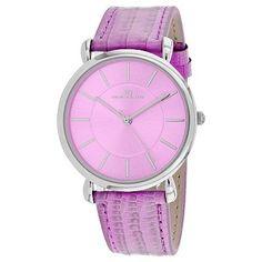 757d614511ae 657-723 - Oceanaut Women s Quartz Lilac Purple Leather Strap Watch  Stainless Steel Case