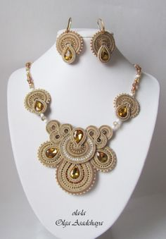 """necklace and earrings """"Golden Drop""""  soutache, glass rhinestone jewelry, glass beads, Japanese and Czech seed beads"""