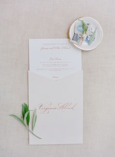 wedding menus with outside envelope with guest name as place card and menu dedicated to lost loved ones