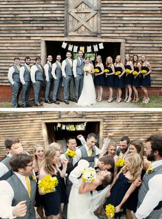 Love the navy blue dresses and bright yellow flowers for the girls and the gray vest/pants and yellow ties for the guys.