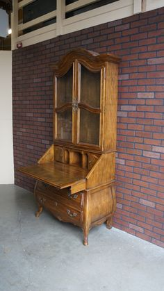 Ethan Allen Country French Hutch China Cabinet Linen