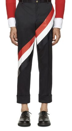 Thom Browne Navy Diagonal Stripe Unconstructed Chinos  from SSENSE (men, style, fashion, clothing, shopping, recommendations, stylish, menswear, male, streetstyle, inspo, outfit, fall, winter, spring, summer, personal)
