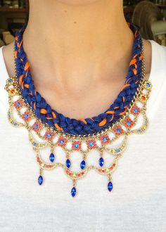 Scallop Bib Necklace / Braided with Swarovski crystals by Tommassini on Etsy, $181.82 CAD