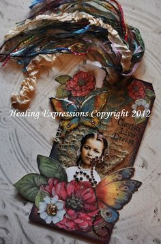 INSPIRATIONAL COLLAGE TAG altered book by HealingExpressions, $12.99