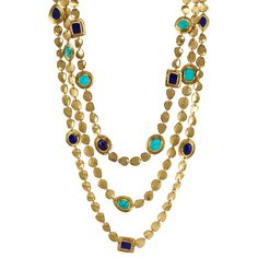Mighty Goddess Stone Triple Necklace Gold Lapis Turquoise