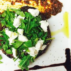 HEALTHY DINNER RECIPE: Grilled #Portobello with Arugula, Goat Cheese and Sun Dried Tomato Pesto #chefoz #cuevabar #tapas #SanDiego | Healthy eats courtesy of the GREAT Chef Oz of CUEVABAR.com in San DIego!