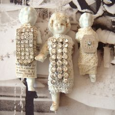 3 Rhinestone Embellished Frozen Charlotte Dolls Lot by metalcorset Altered Canvas, Altered Art, Frozen Dolls, Beads Pictures, Soldering Jewelry, China Dolls, Doll Parts, Old Dolls, Assemblage Art