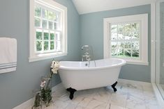 Languid Blue by Sherwin Williams at Houzz. Contemporary Bathroom design by New York Interior Designer AMI Designs. Best Paint Colors for Your Home: LIGHT BLUES at Remodelholic