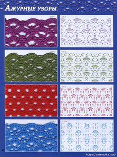Knitting world & Crochet Crochet Stitches Chart, Crochet Borders, Crochet Diagram, Crochet Motif, Free Crochet, Knit Crochet, Crochet Patterns, Crochet Tutorial, Crochet Books
