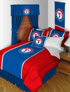 Texas Rangers bedding sets.  #MLB #bedding will be buying to put in my sons ranger room