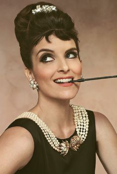 Tina Fey dressed up as Audrey Hepburn. Two in one <3