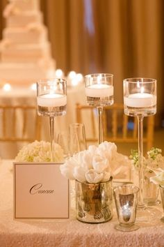 #Neutral #Wedding #table candle centerpiece… Wedding ideas for brides, grooms, parents & planners https://itunes.apple.com/us/app/the-gold-wedding-planner/id498112599?ls=1=8 … plus how to organise an entire wedding, within ANY budget ♥ The Gold Wedding Planner iPhone App ♥  http://pinterest.com/groomsandbrides/boards/  For more #Wedding #Ideas & #Budget #Options