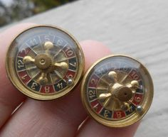 RARE Vintage Roulette Wheels. WORKS. Gold Cufflinks. 1960s. Gift For Dad, Mom…