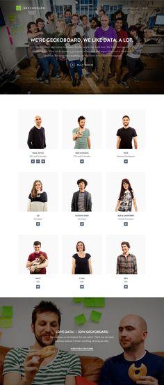 Geckoboard team page Web Design, Page Design, Graphic Design, Restaurant Website Design, Team Photography, Team Page, Design Websites, Team Photos, Profile Design
