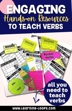 Teaching verbs can be so exciting with these engaging hands-on resources. This resource includes worksheets, anchor charts, class games with recording sheets, interactive notebook pages, task cards, crafts, and quick assessments. This is a complete hands-on mini unit that will add fun and excitement to your classroom. Teaching Verbs, Teaching Reading, English Language Learners, Language Arts, Class Games, Thinking Of Someone, Recording Sheets, Primary Education, Reading Resources