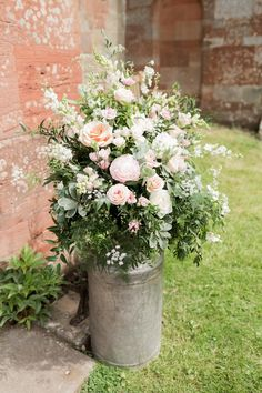 Peonies and pastels for an elegant summer wedding at Mill Barns. Peonies and pastels for an elegant Church Wedding Flowers, Church Wedding Decorations, Wedding Wreaths, Farm Wedding, Flower Decorations, Wedding Ideas, Wedding Flower Arrangements, Table Flowers, Floral Wedding